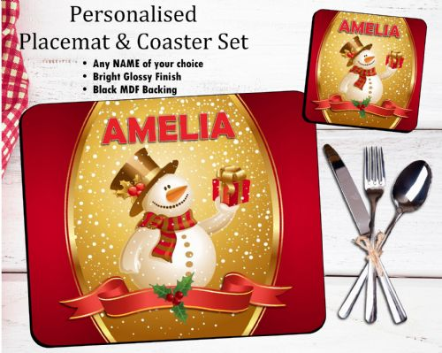 Personalised Christmas Table Placemat & Coaster Set N23
